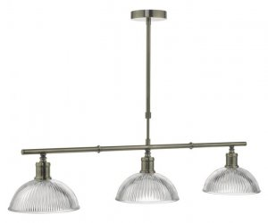 Dar Dara 3 Light Bar Pendant Antique Brass & Glass