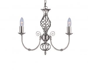 Searchlight Zanzibar 3 Light Satin Silver Pendant