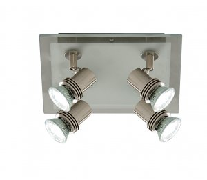 Searchlight Top Hat 4 Light Satin Silver Glass Square Spotlight Plate