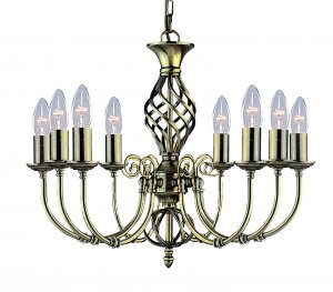 Searchlight Zanzibar 8 Light Antique Brass Pendant