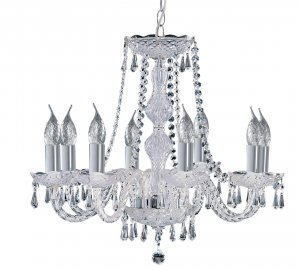 Searchlight Hale Georgian 8 Light Chrome Chandelier with Crystal Trimmings