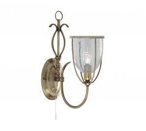 Searchlight Silhouette 1 Light Antique Brass Wall Bracket with Clear Glass Shades