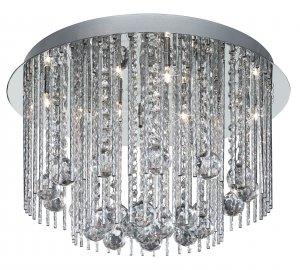 Searchlight Beatrix 8 Light Chrome Semi Flush Ceiling Light with Crystal Droplets