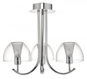 Dar Duana 3lt Semi Flush Polished Chrome & Glass