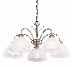 Searchlight Milanese 5 Light Antique Brass Fitting with Alabaster Glass