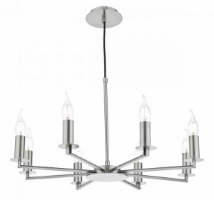 Dar Tyler 8 Light Height Adjustable Pendant Satin Nickel Without Shades