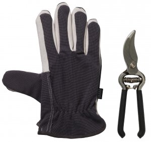 Briers Lined Dual Gloves & Secateurs Grey/Black