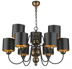 David Hunt Garbo 9 Light Bronze Pendant with Black/Bronze Shades