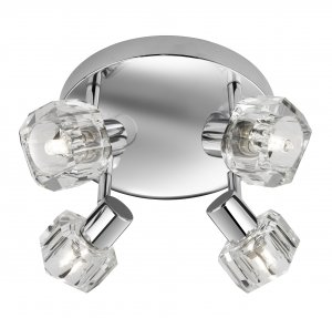 Searchlight Triton 4 Light Round Chrome Ceiling Light with Clear Glass Shade