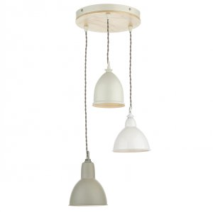Dar Blyton 3 Light Spiral Pendant Complete with Painted Shades