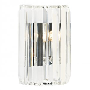 Dar Sketch 1 Light Crystal Wall Bracket Polished Chrome