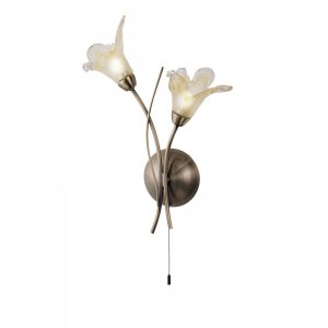 Searchlight Lily 2 Light Antique Brass Wall Light with Petal Glass