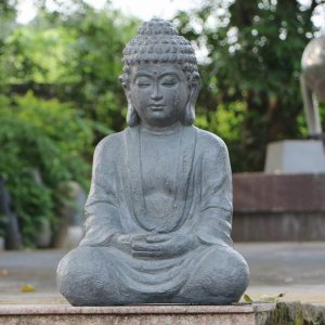 Solstice Sculptures Buddha Sitting 61cm Grey Charcoal Effect