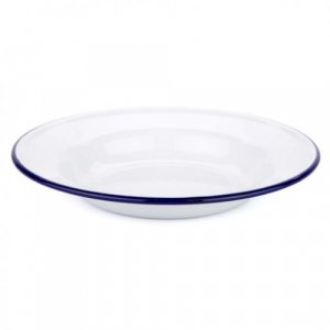 Falcon Enamelware Soup Plate 24cm - White with Blue Rim