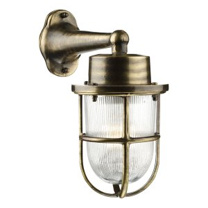 David Hunt Harbour 1 Light Down Wall Light Antique Brass IP64