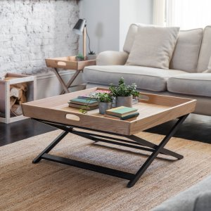 Garden Trading Butlers Coffee Table, Square in Carbon - Oak