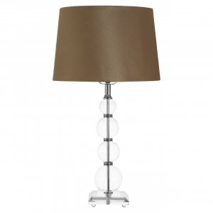 Pearl Crystal Cut Table Lamp with Taupe Shade