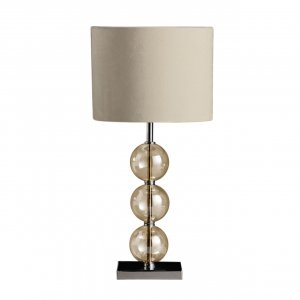 Mistro Amber Orb and Chrome Table Lamp with Cream Faux Suede Shade