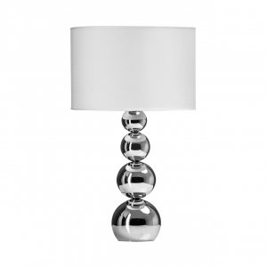 Cameo Chrome Touch Lamp with White Fabric Shade
