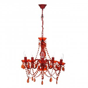 Versailles 5 Arm Beaded Red Chandelier