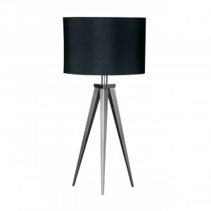 Tripod Satin Nickel Feature Table Lamp with Black Shade