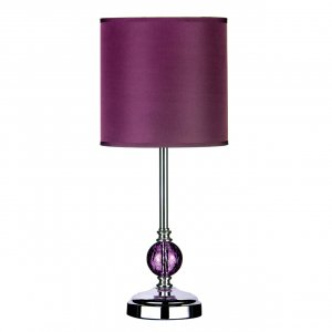 Purple Glass Ball and Chrome Table Lamp with Purple Shade