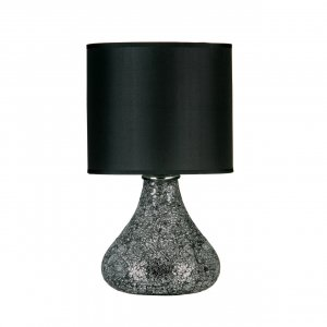 Opulence Mosaic Black Glass Table Lamp with Black Metallic Shade