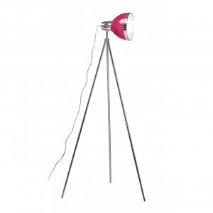 Chrome Tripod Floor Lamp with Hot Pink Shade