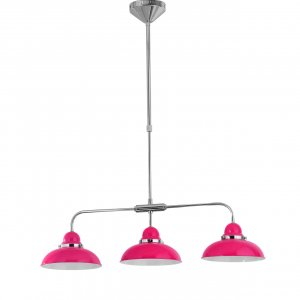 Jasper Chrome 3 Light Pendant Ceiling Light with Hot Pink Shades