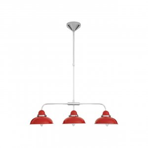 Jasper Chrome 3 Light Pendant Ceiling Light with Red Shades