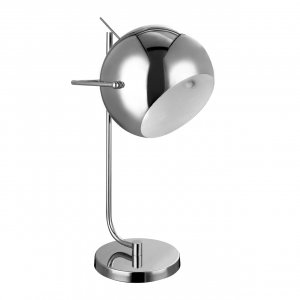 Dome Chrome and White Table Lamp