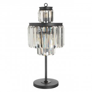 Art Deco Iron and Crystal Table Lamp