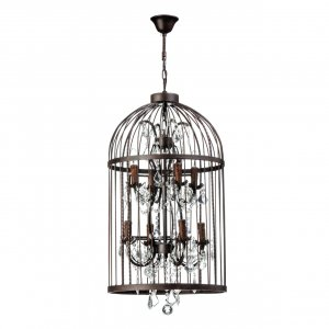 Antique Birdcage 8 Light Iron and Crystal Pendant Light