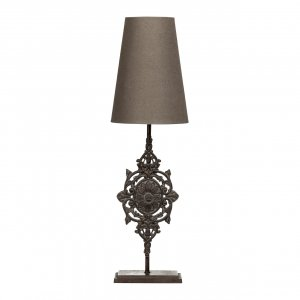 Pacific Floral Table Lamp with Grey Shade