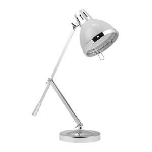 Vermont Adjustable Flint Grey and Chrome Table Lamp