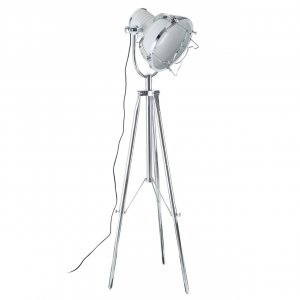 Industrial Revolution White and Chrome Tripod Floor Lamp