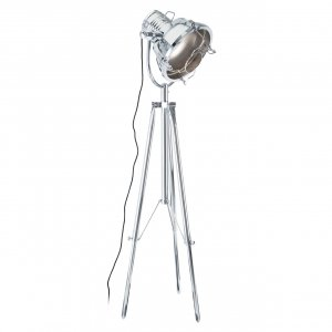 Industrial Revolution Chrome Tripod Floor Lamp