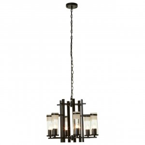 Aspen 6 Light Matte Black Iron and Glass Pendant Light