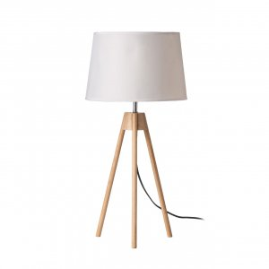 Tripod Light Wood and White Shade Table Lamp
