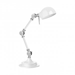 Library Adjustable White Metal Table Lamp