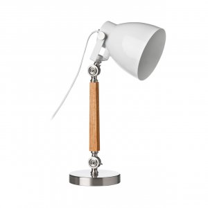 Stockholm Light Wood and Satin Nickel Table Lamp with White Shade