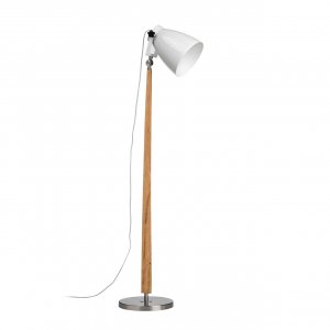 Stockholm Light Wood and Satin Nickel Floor Lamp with White Shade