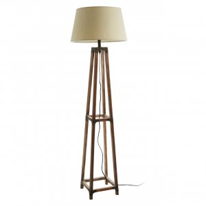 Fir Wood and Metal Floor Lamp with Natural Shade