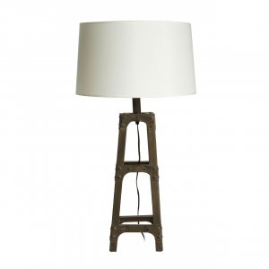 Scaffold Wood and Metal Table Lamp with White Fabric Shade
