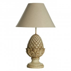 Acorn Metal and Resin Table Lamp with Natural Shade