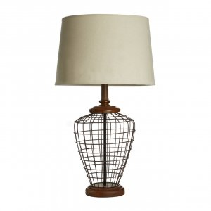 Maine Metal Cage Table Lamp with Natural Linen Shade