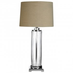 Alona Clear Glass Crystal Accent Table Lamp with Stone Linen Shade