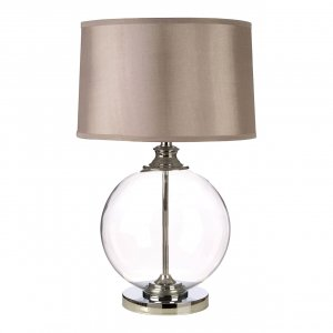 Edna Clear Glass Ball Small Table Lamp with Silver Silk Shade