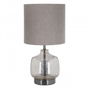 Lucia Champagne Glass Table Lamp with Natural Fabric Shade
