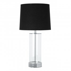 Ludo Clear Glass and Chrome Table Lamp with Black Fabric Shade